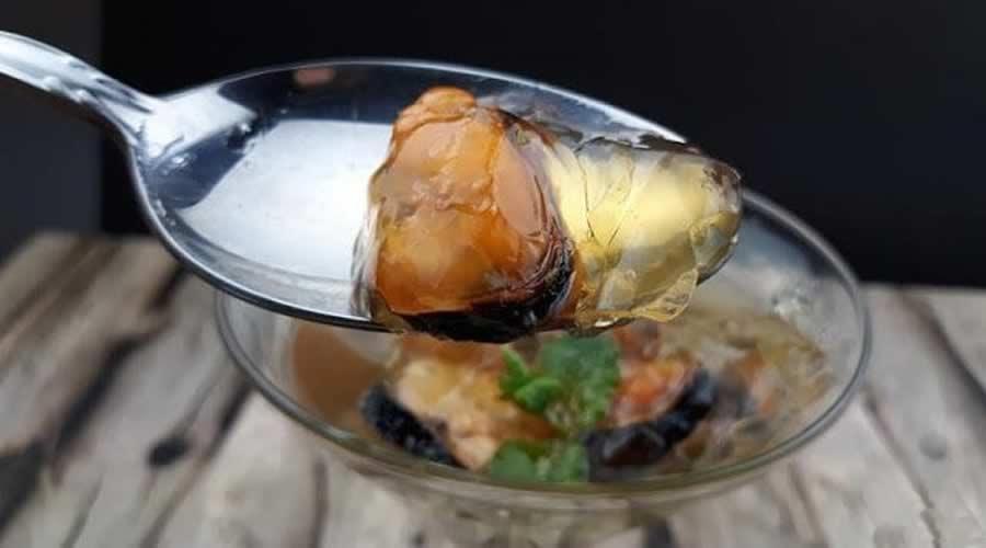 Gelatina de mojito de albariño con mejillones